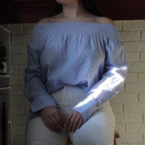 Tommy Hilfiger Light Blue Off the Shoulder Top